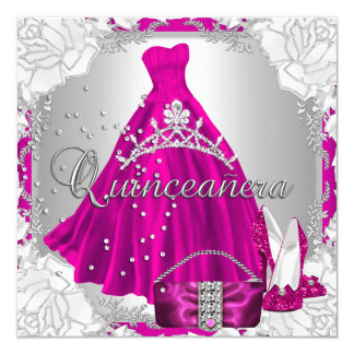 """Quinceanera 15th 15 Birthday Pink Dress Shoes 5.25"""" Square Invitation Card"""