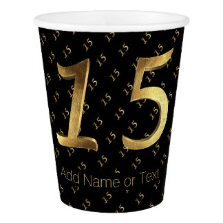 Quinceanera 15th Birthday Anniversary Black Gold Paper Cup