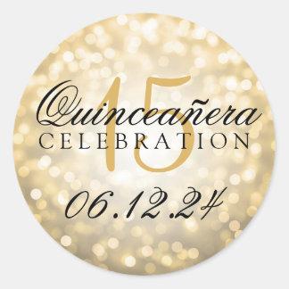 Quinceanera 15th Birthday Gold Bokeh Lights Classic Round Sticker