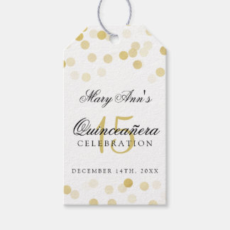 Quinceanera 15th Birthday Gold Foil Glitter Lights Gift Tags