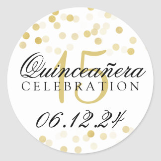 Quinceanera 15th Birthday Gold Foil Glitter Lights Round Sticker