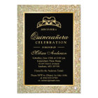 Quinceanera 15th Birthday Gold Glitter Sparkles Card