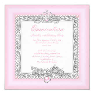 """Quinceanera 15th Birthday Magical Fairytale Pink 5.25"""" Square Invitation Card"""