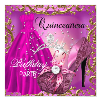quinceanera 15th Birthday Party Gold Dress Tiara Card