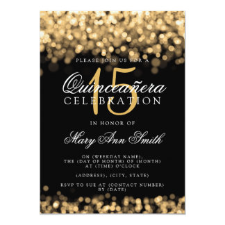 Quinceanera 15th Birthday Party Gold Lights Card