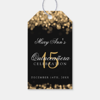 Quinceanera 15th Birthday Party Gold Lights Pack Of Gift Tags
