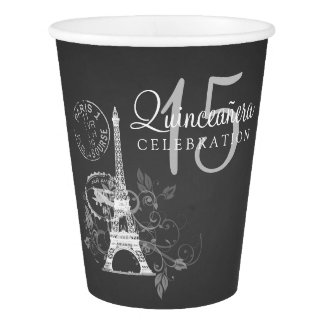 Quinceanera 15th Birthday Party Paris Black Paper Cup