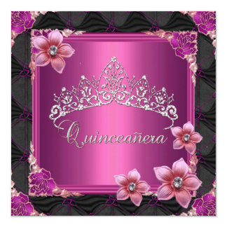 Quinceanera 15th Birthday Party Pink Tiara Button Card