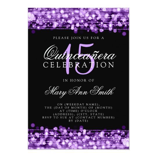 Quinceanera 15th Birthday Party Sparkles Purple Card