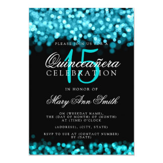 Quinceanera 15th Birthday Party Turquoise Lights Card