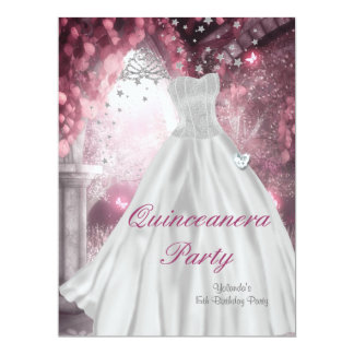 Quinceanera 15th Birthday Party White Dress 2 Card