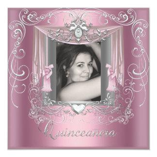 "Quinceanera 15th Birthday Pink Silver Star 5.25"" Square Invitation Card"