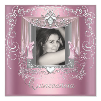 Quinceanera 15th Birthday Pink Silver Star Card