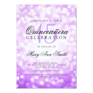 Quinceanera 15th Birthday Purple Bokeh Lights Card