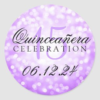 Quinceanera 15th Birthday Purple Bokeh Lights Round Sticker