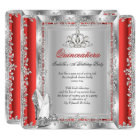 Quinceanera 15th Birthday Red Silver Shoes Card