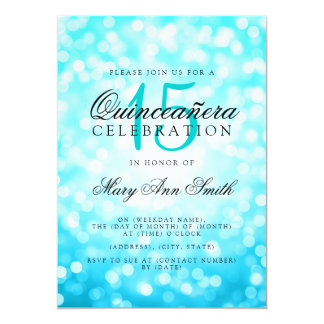 Quinceanera 15th Birthday Turquoise Bokeh Lights Card