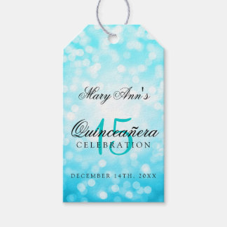 Quinceanera 15th Birthday Turquoise Bokeh Lights Pack Of Gift Tags
