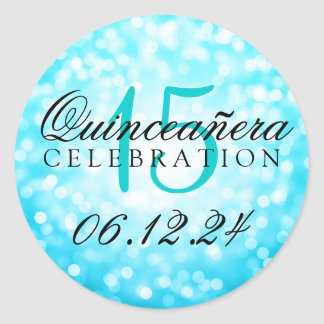 Quinceanera 15th Birthday Turquoise Bokeh Lights Round Sticker