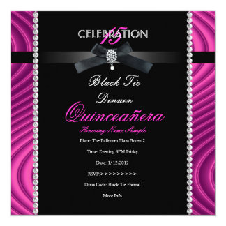 """Quinceanera 15th Black Tie Hot Pink Black Party 5.25"""" Square Invitation Card"""