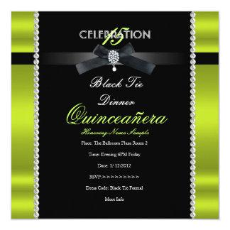 "Quinceanera 15th Black Tie Lime Green Black Party 5.25"" Square Invitation Card"