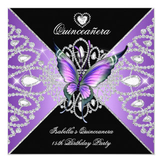 Quinceanera 15th Butterfly Purple Black Tiara Card