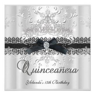 """Quinceanera 15th Glitter Tiara Black White Bow 5.25"""" Square Invitation Card"""