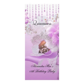 Quinceanera 15th Lilac Pink Floral White Rack Card