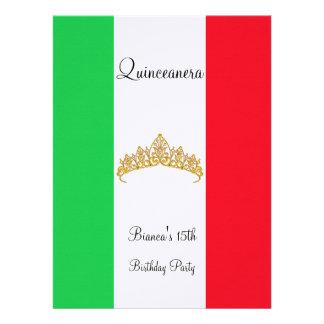 Quinceanera 15th Mexico Gold Tiara Invitation