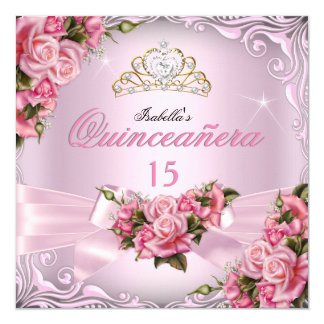 Quinceanera 15th Pretty Pink Roses Tiara Birthday Card
