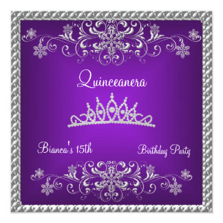 Quinceanera 15th Purple Black Diamond Tiara Card