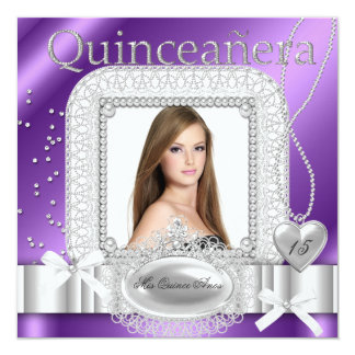 Quinceanera 15th Purple White Lace Pearl Photo Card