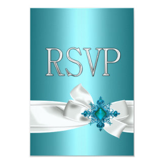 Quinceanera 15th Teal Blue Silver White Bow RSVP Card