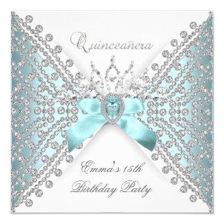 """Quinceanera 15th Teal Blue Silver White Diamond 5.25"""" Square Invitation Card"""