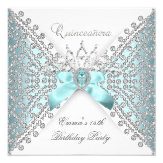 Quinceanera 15th Teal Blue Silver White Diamond Personalized Invites