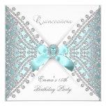 Quinceanera 15th Teal Blue White Faux Diamond