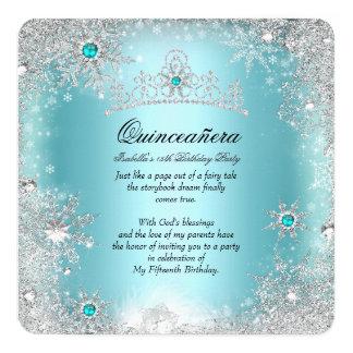 """Quinceanera 15th Winter Wonderland Silver Blue 2 5.25"""" Square Invitation Card"""