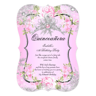 "Quinceanera 15th Winter Wonderland Sweet Pink 5"" X 7"" Invitation Card"
