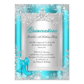"Quinceanera 15th Winter Wonderland Teal Aqua 5"" X 7"" Invitation Card"