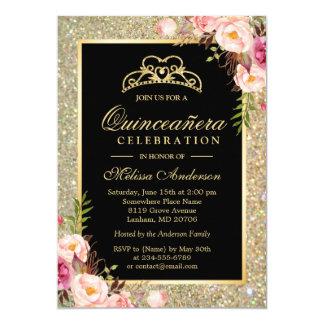 Quinceanera invitations announcements zazzle ca quinceanera birthday floral gold glitter sparkles card stopboris Choice Image