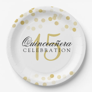 Quinceanera Birthday Gold Foil Glitter Lights Paper Plate