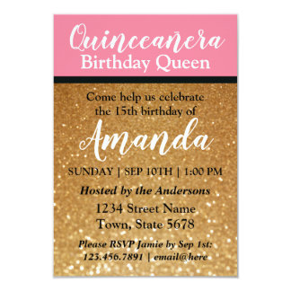 Quinceañera Birthday Invitation Pink Gold Glitter