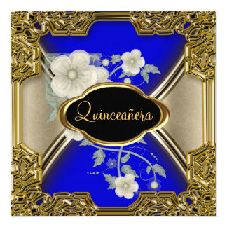 Quinceañera Birthday Party Gold Black blue Card