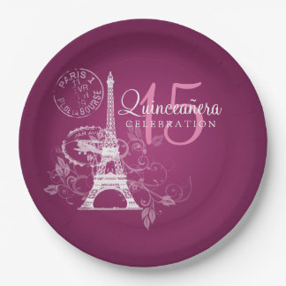 Quinceanera Birthday Party Paris Pink Paper Plate