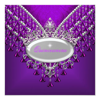 Quinceanera Birthday Party Purple Magenta Card