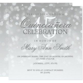Quinceanera Birthday Party Silver Sparkle Lights Card