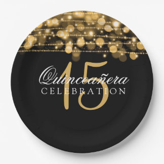 Quinceanera Birthday Party Sparkles Gold Paper Plate