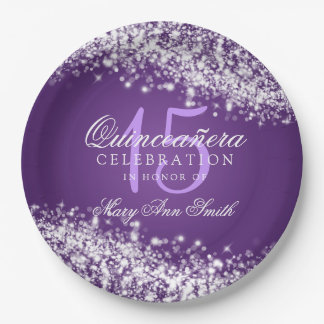 Quinceanera Birthday Party Sparkling Wave Purple Paper Plate
