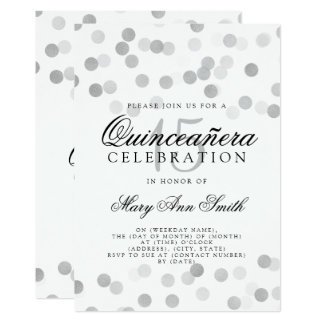 Quinceanera Birthday Silver Foil Glitter Lights Card