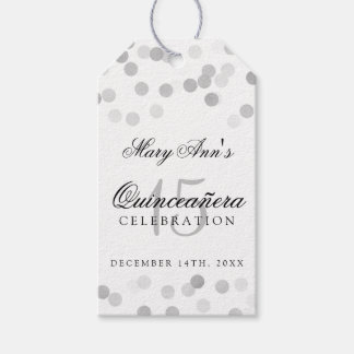 Quinceanera Birthday Silver Foil Glitter Lights Pack Of Gift Tags